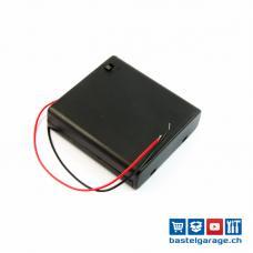 Batteriefach / Batteriehalter 4xAA mit Anschlusskabel und Schalter