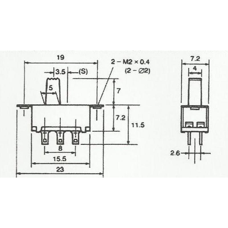 Schiebeschalter DPDT Ein/Ein 6 Polig - Bastelgarage Elektronik ...