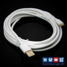 3m Qualität Micro USB Kabel weiss mit Goldkontakten
