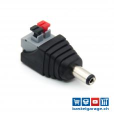 DC-Stecker Male Barrel Jack 5.5mm / 2.1mm mit Federklemmen