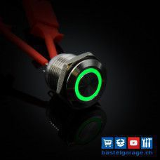 16mm Drucktaster mit RGB Beleuchtung 5V - Edelstahl