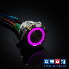 22mm Drucktaster mit RGB Beleuchtung 5V - Edelstahl