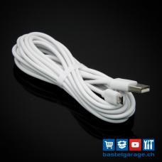 3m Qualitäts Micro USB Kabel weiss