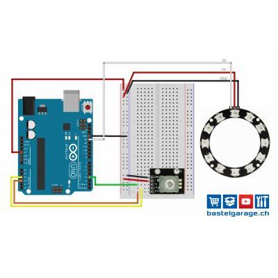 Neopixel Ring mit WS2812 RGB LED mit Rotary Encoder ansteuern