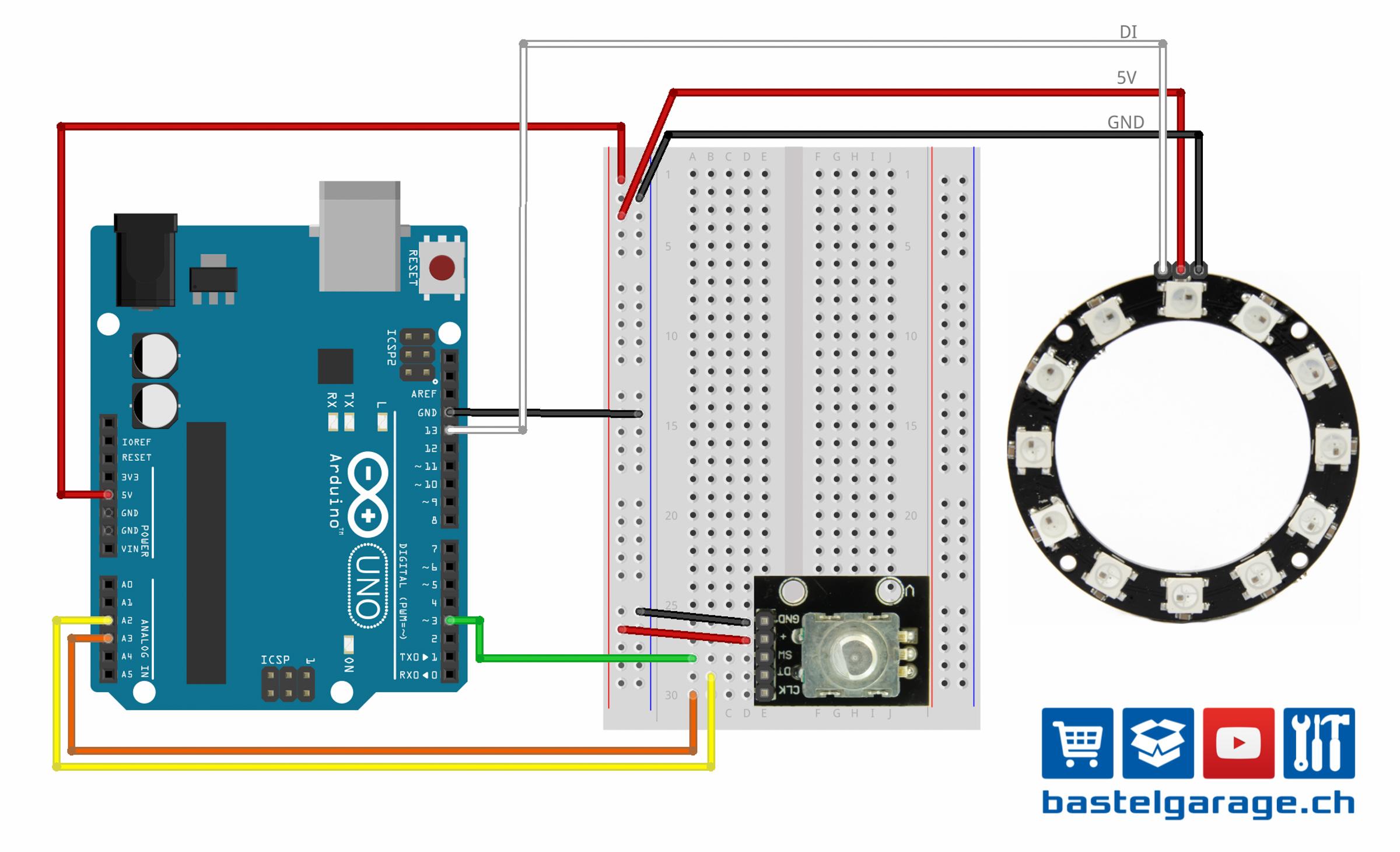 Neopixel Ring mit WS2812 RGB LED mit Rotary Encoder über Arduino ...
