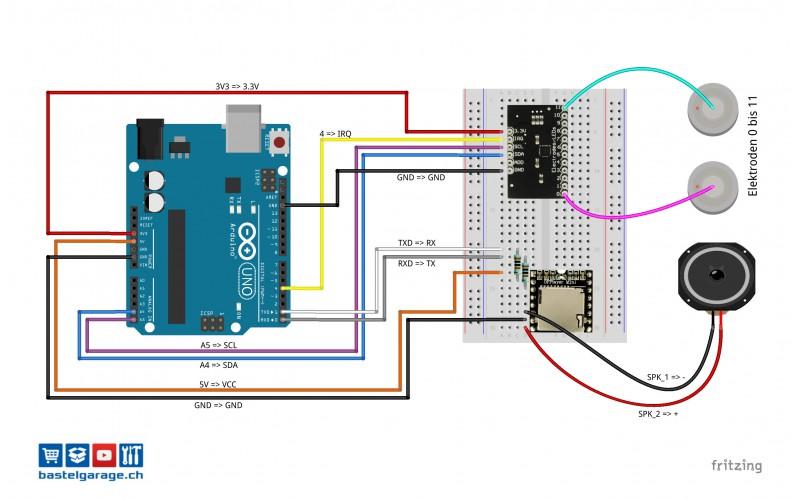 Mit touch sensor mpr und arduino sound effekte abspielen
